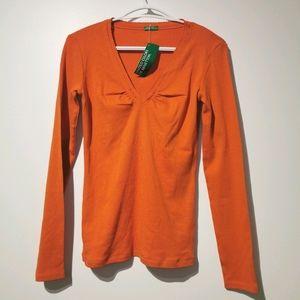 NWT Benetton orange v neck 100% cotton s blouse